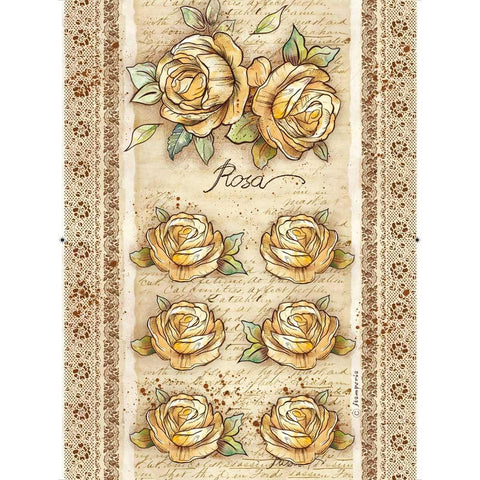 Stamperia Rice Paper Sheet A4 Rose