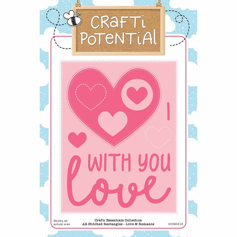 Crafti Potential - A2 Stitched Rectangles - Love & Romance