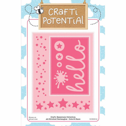 Crafti Potential - A2 Stitched Rectangles - Dots & Stars