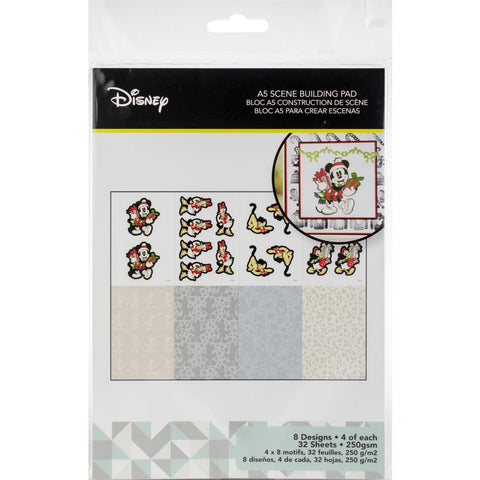 Disney A5 Scene Building Pad 32 pack Vintage Mickey, 8 Designs/4 Each