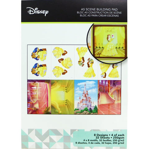 Disney A5 Scene Building Pad 32 pack Belle, 8 Designs/4 Each