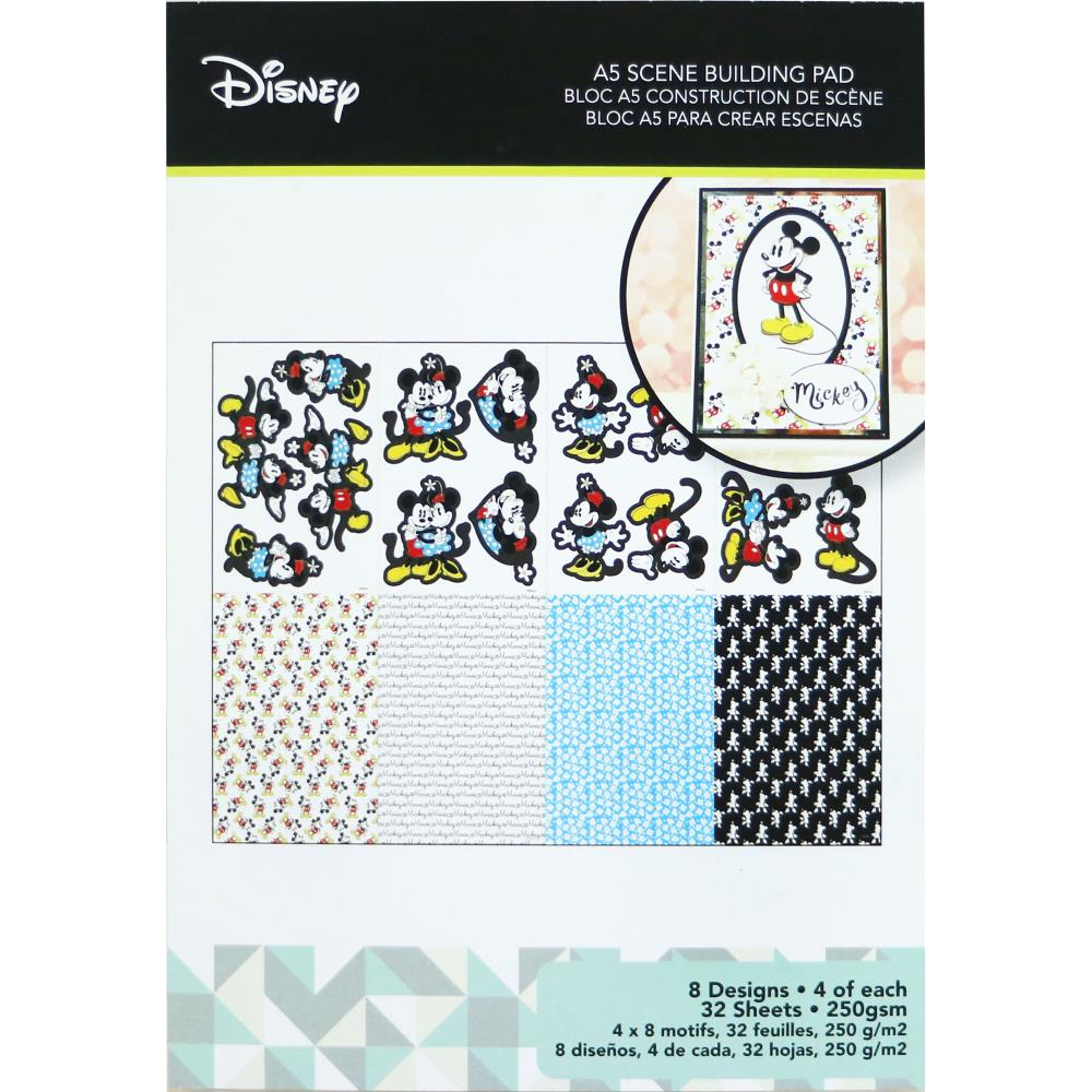 Disney A5 Scene Building Pad 32 pack Mickey & Minnie 8 Designs/4 Each