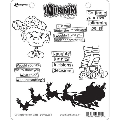 Dyan Reaveleys Dylusions Cling Stamp Collections 8.5inch X7inch - Elf Improvement Class