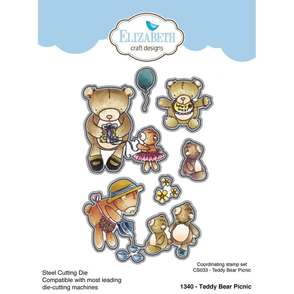Elizabeth Craft Metal Die By Krista Designs Teddy Bear Picnic