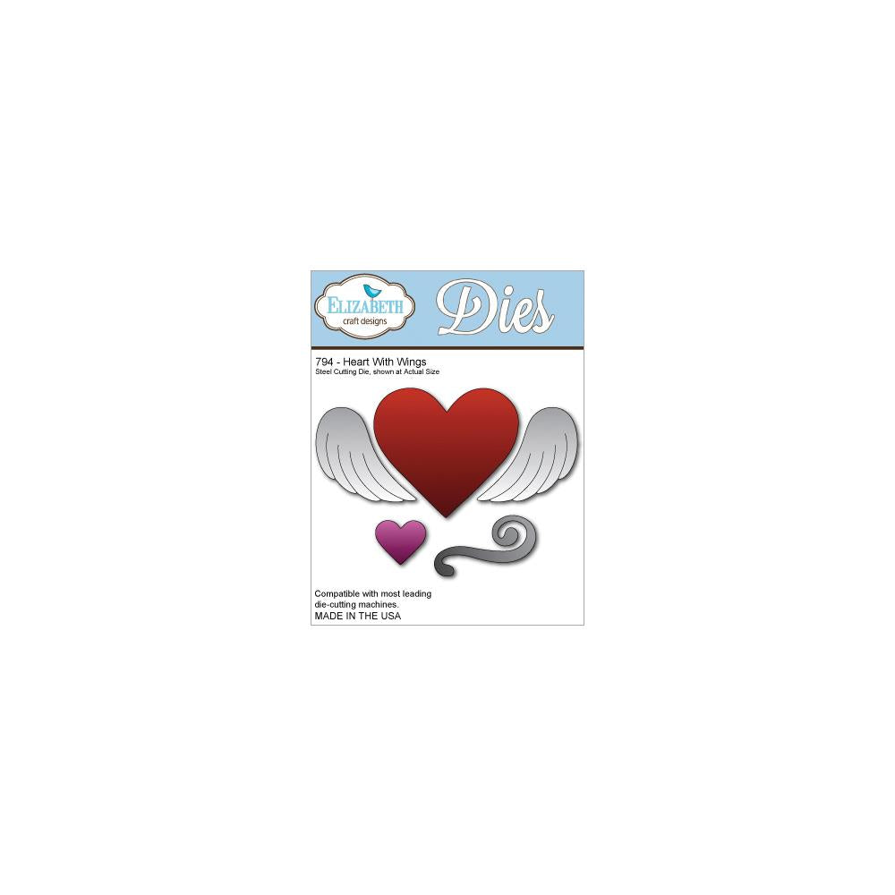 Elizabeth Craft Metal Die Heart W/Wings, 2.25 inch X4.25 inch