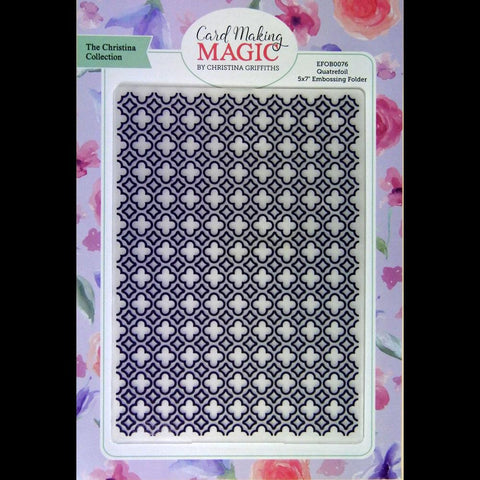 Craft Essentials - The Christine Griffith Card Making Magic Collection - Quatrefoil 5 x 7 inch Embossing Folder