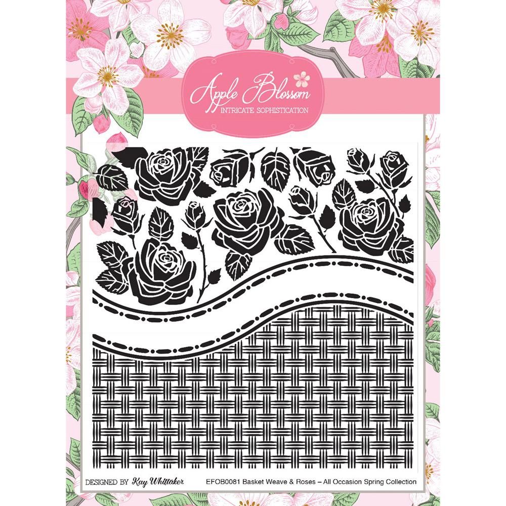 Apple Blossom Dies - All Occasion Spring - Basket Weave and Roses 6 x 6 Embossing Folder - Designed by Kay Whittaker