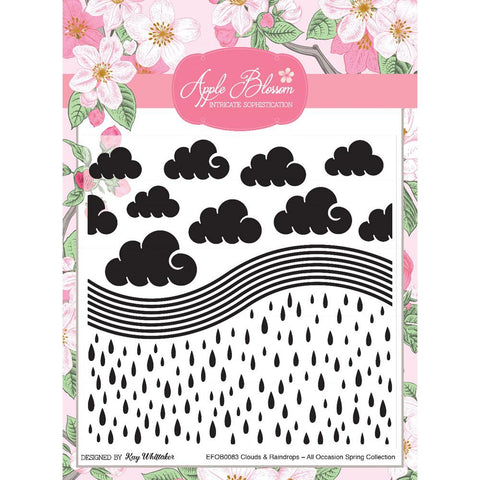 Apple Blossom Dies - All Occasion Spring - Clouds and Raindrops 6 x 6 Embossing Folder - Designed by Kay Whittaker