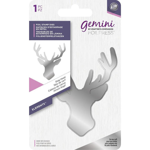 Crafters Companion - Gemini - Foilpress Stamp Die Elements Stag Head