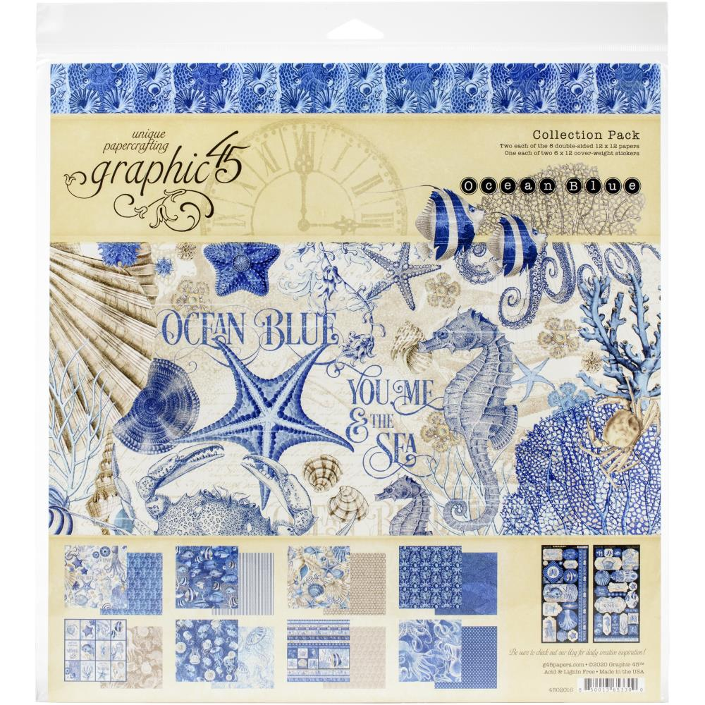 Graphic 45 Collection Pack 12X12 Ocean Blue