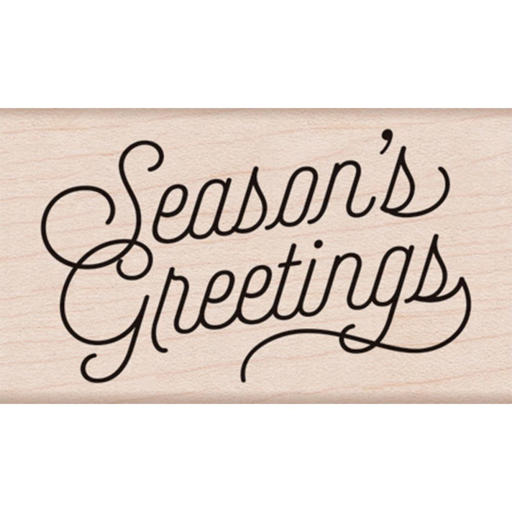 Hero Arts Mounted Rubber Stamp 3.25 inch X1.75 inch Seasons Greetings Script
