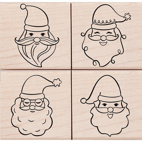 Hero Arts Mounted Rubber Stamp Set 4.125 inch X4 inch Santa Faces