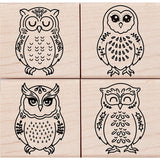 Hero Arts Mounted Rubber Stamp Set 4.125 inch X4 inch Four Owls