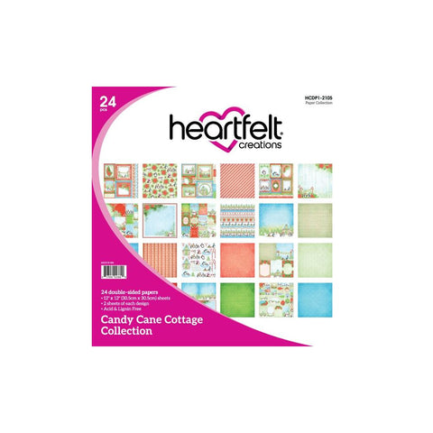 Heartfelt Creations Double-Sided Paper Pad 12X12 24/Pkg Candy Cane Cottage