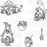 Heartfelt Creations Cling Rubber Stamp Set 5X6.5 Honey Bee Bungalows