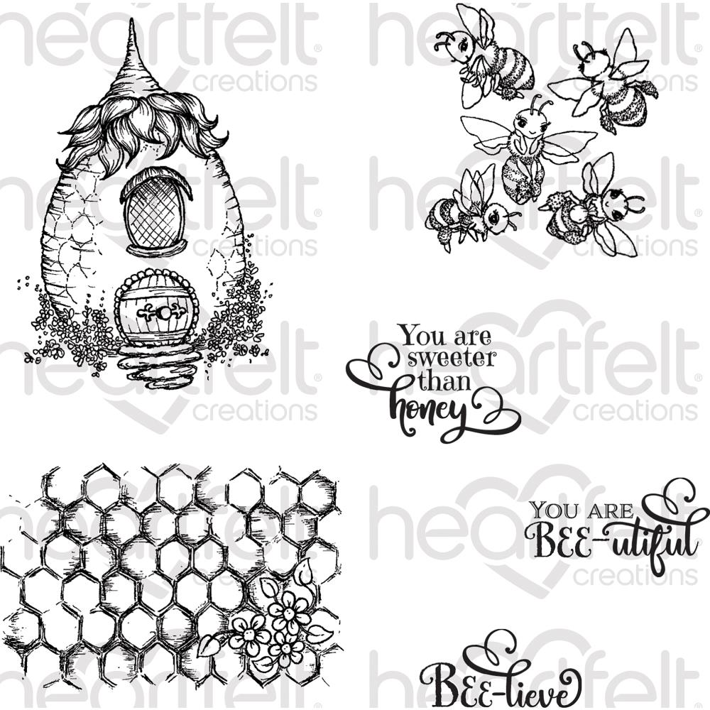 Heartfelt Creations Cling Rubber Stamp Set 5X6.5 Sweet As Honey
