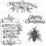 Heartfelt Creations Cling Rubber Stamp Set 5X6.5 Silent Night