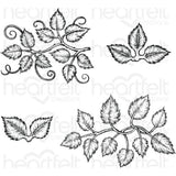 Heartfelt Creations Cling Rubber Stamp Set 5 inch X6.5 inch Leafy Accents 1 inch To 4.5 inch