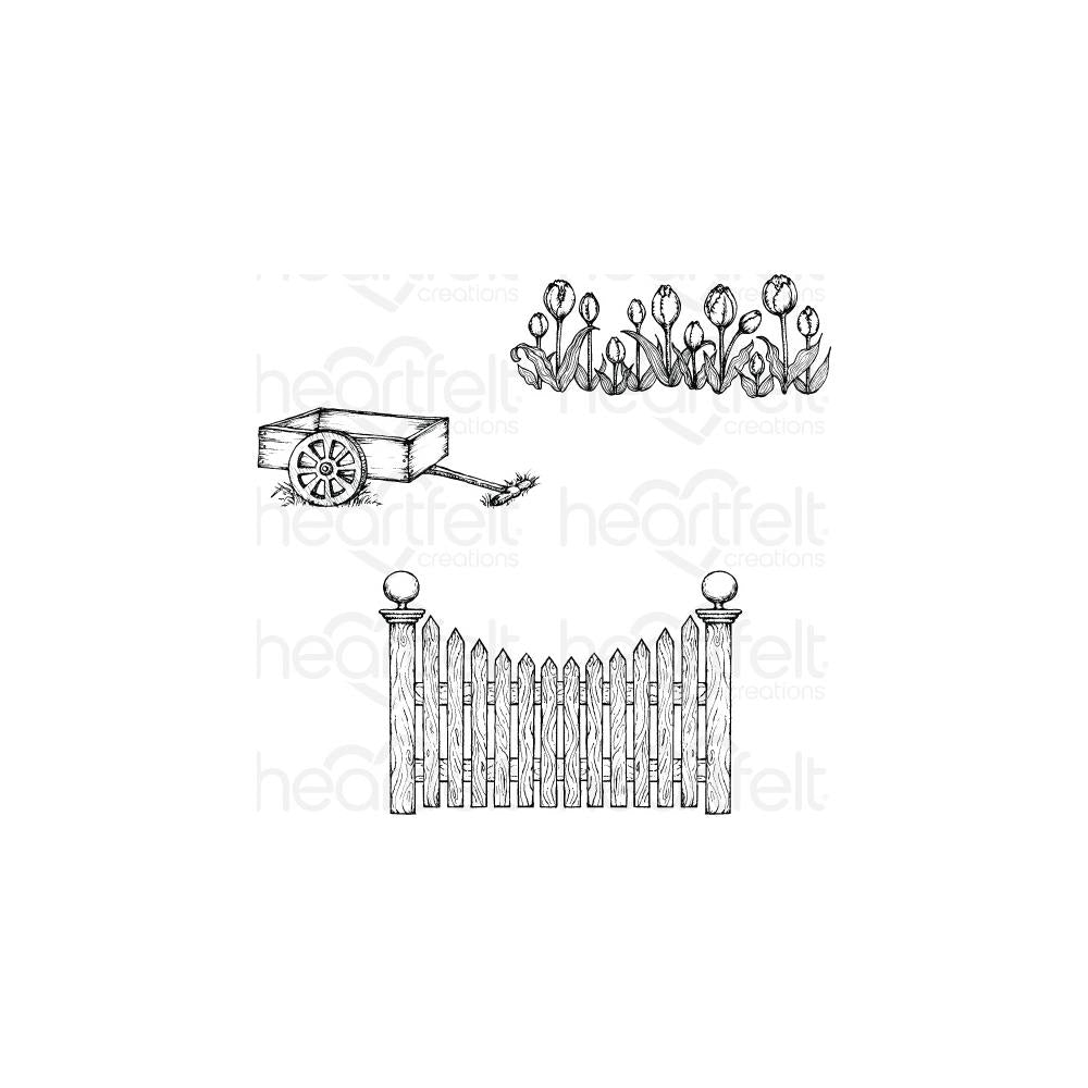 Heartfelt Creations Cling Rubber Stamp Set 5X6.5 Tulip Cart & Fence .25 To 4