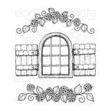 Heartfelt Creations Cling Rubber Stamp Set Cottage Garden -Window & Hydrangea