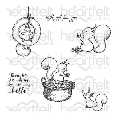 "Heartfelt Creations Cling Rubber Stamp Set - Furry-Tailed Frolic .5"" To 3.5"""