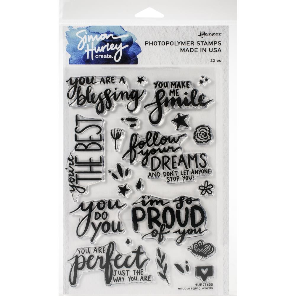 Simon Hurley create. Cling Stamps 6X9 Encouraging Words