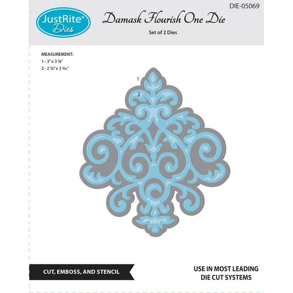 JustRite Custom Dies 2 pack Damask Flourish