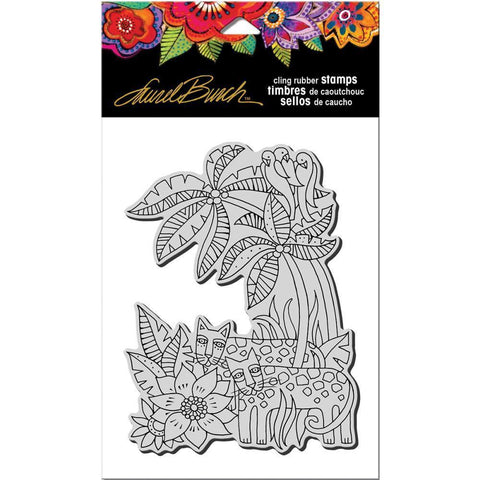 Stampendous Laurel Burch Cling Stamp 7.75 inch X4.5 inch Leopard Jungle