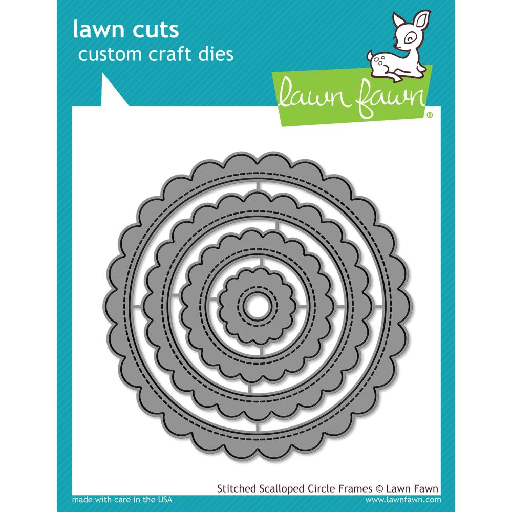 Lawn Cuts Custom Craft Die Stitched Scalloped Circle Frames