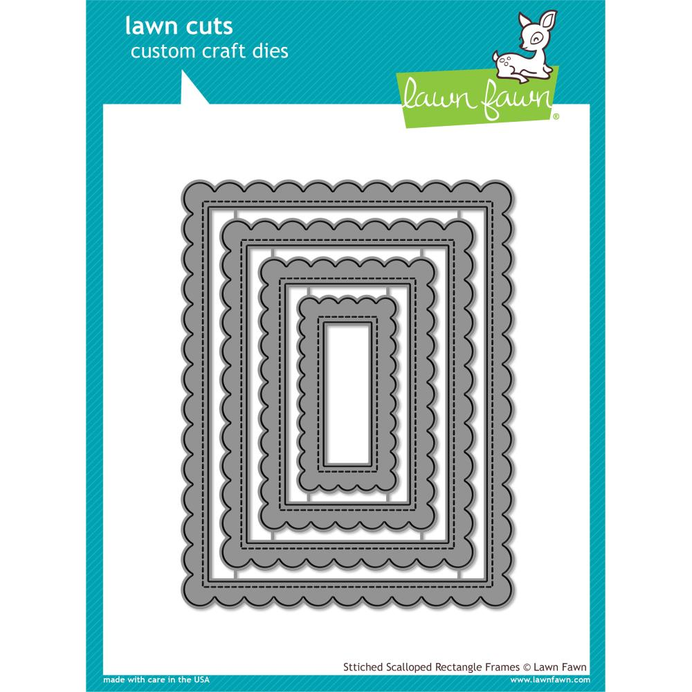 Lawn Cuts Custom Craft Die Stitched Scalloped Rectangle Frames