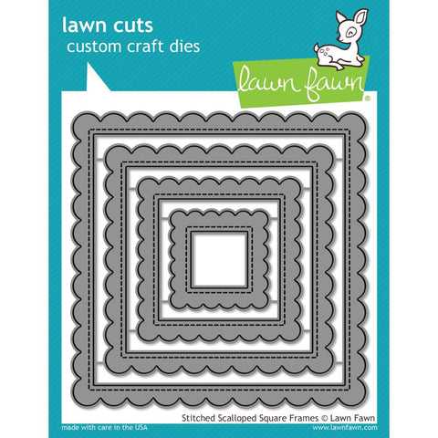 Lawn Cuts Custom Craft Die Stitched Scalloped Square Frames
