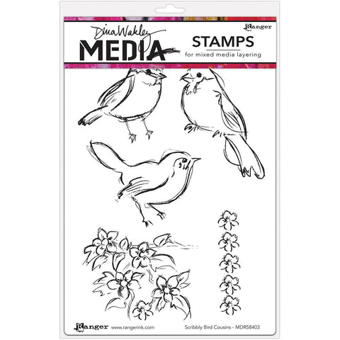 Dina Wakley Media Cling Stamps 6 inch X9 inch Scribbly Bird Cousins