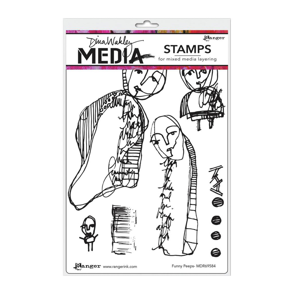 Dina Wakley Media Cling Stamps 6X9 Funny Peeps