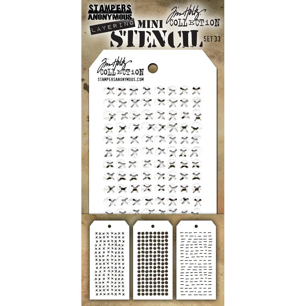 Tim Holtz Mini Layered Stencil Set 3 pack Set #33