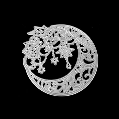 Poppy Crafts Dies - Ornate Moon with Holly & Stars Die Design