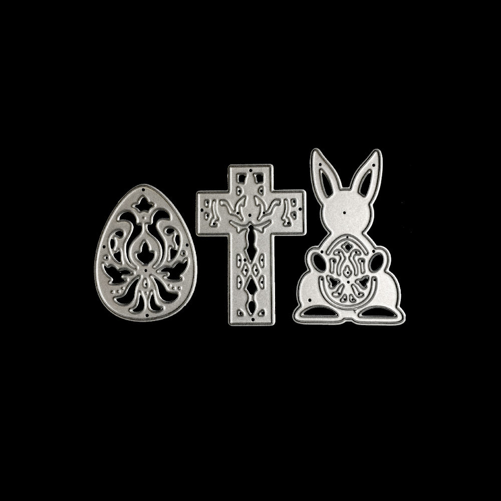 Poppy Crafts Dies - Three Easter Motifs Die Designs (including Egg, Cross & Bunny with Egg)