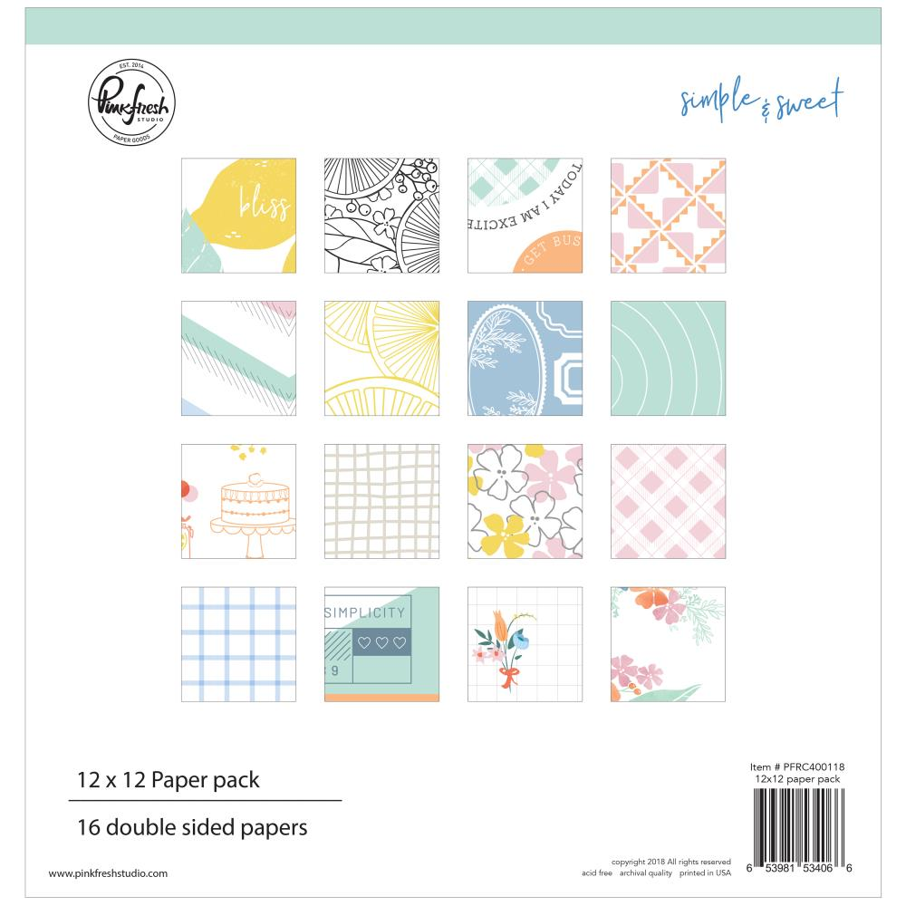 Pinkfresh Studio Double-Sided Paper Pack 12 inch X12 inch 16 pack Simple & Sweet, 8 Designs/2 Each