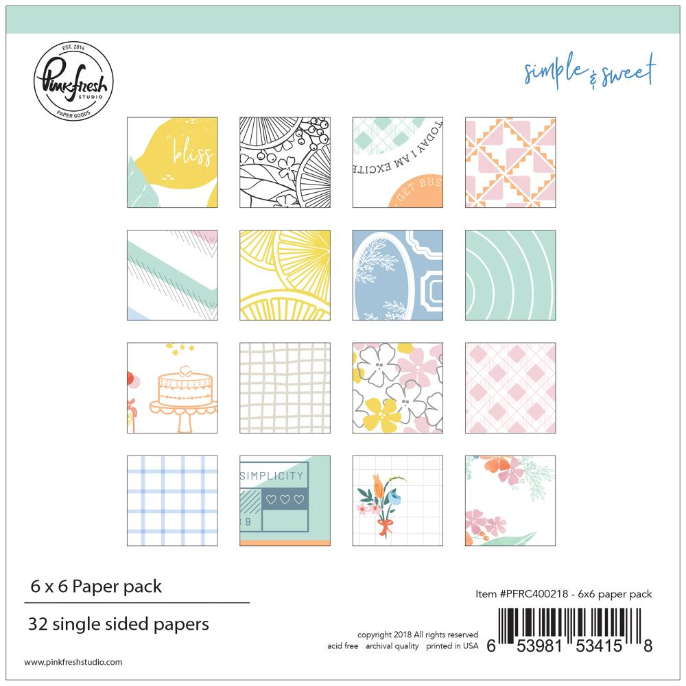 Pinkfresh Studio Single-Sided Paper Pack 6 inch X6 inch 32 pack Simple & Sweet, 16 Designs/2 Each