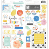 Pinkfresh Studio Simple & Sweet Chipboard Stickers 5.5 inch X11 inch 39 pack