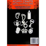 PoppyCrafts Cutting Die - Baby Fun Dies - 9 designs in total including baby feet, rattle, dummy, ducky, bee and baby footprints