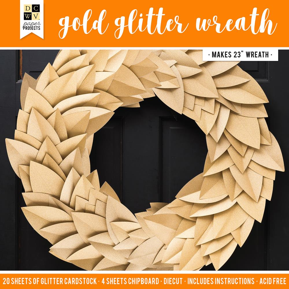 DCWV Paper Projects Gold Glitter Wreath - Makes 1