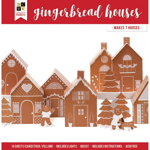 DCWV Paper Projects Gingerbread Houses - Makes 7