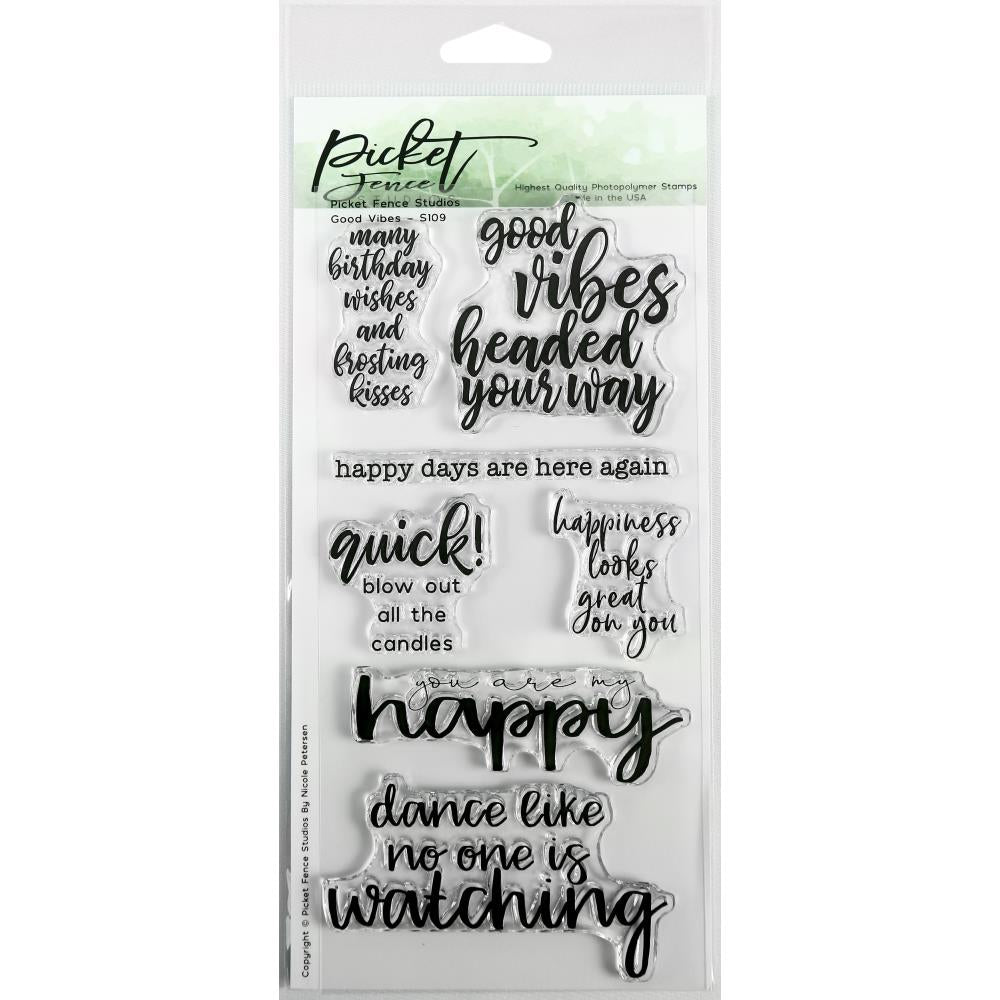 Picket Fence Studios 4X8 Stamp Set Good Vibes