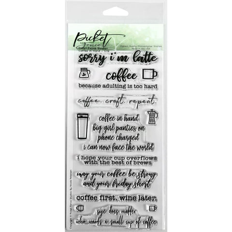Picket Fence Studios 4X8 Stamp Set Coffee In Hand