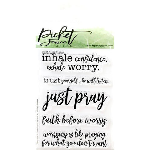 Picket Fence Studios 3inch X4inch Stamp Set Exhale Worry
