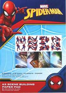 Marvel A5 Scene Building Pad 32/Pkg Spider Man, 8 Designs/4 Each