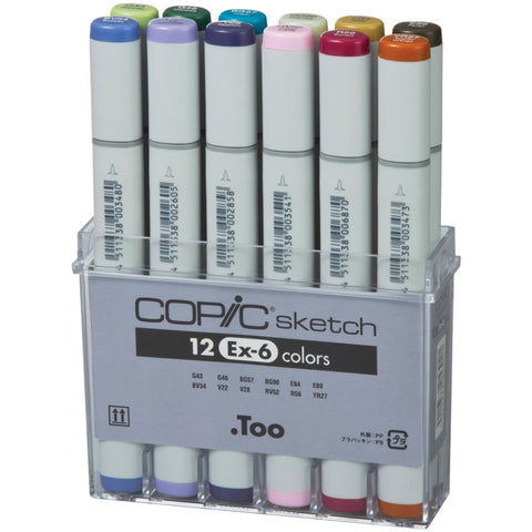 Copic Sketch Markers Set 12/Pkg Ex-6