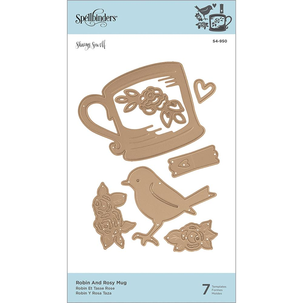 Spellbinders Shapeabilities Dies By Sharyn Sowell Cuppa Coffee, Cuppa Tea-Robin & Rosy Mug