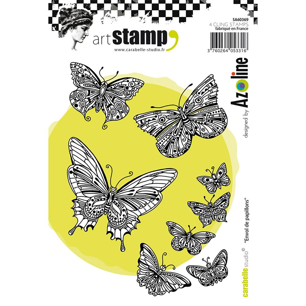 Carabelle Studio Tag 3 Butterflies Cling Stamp A6