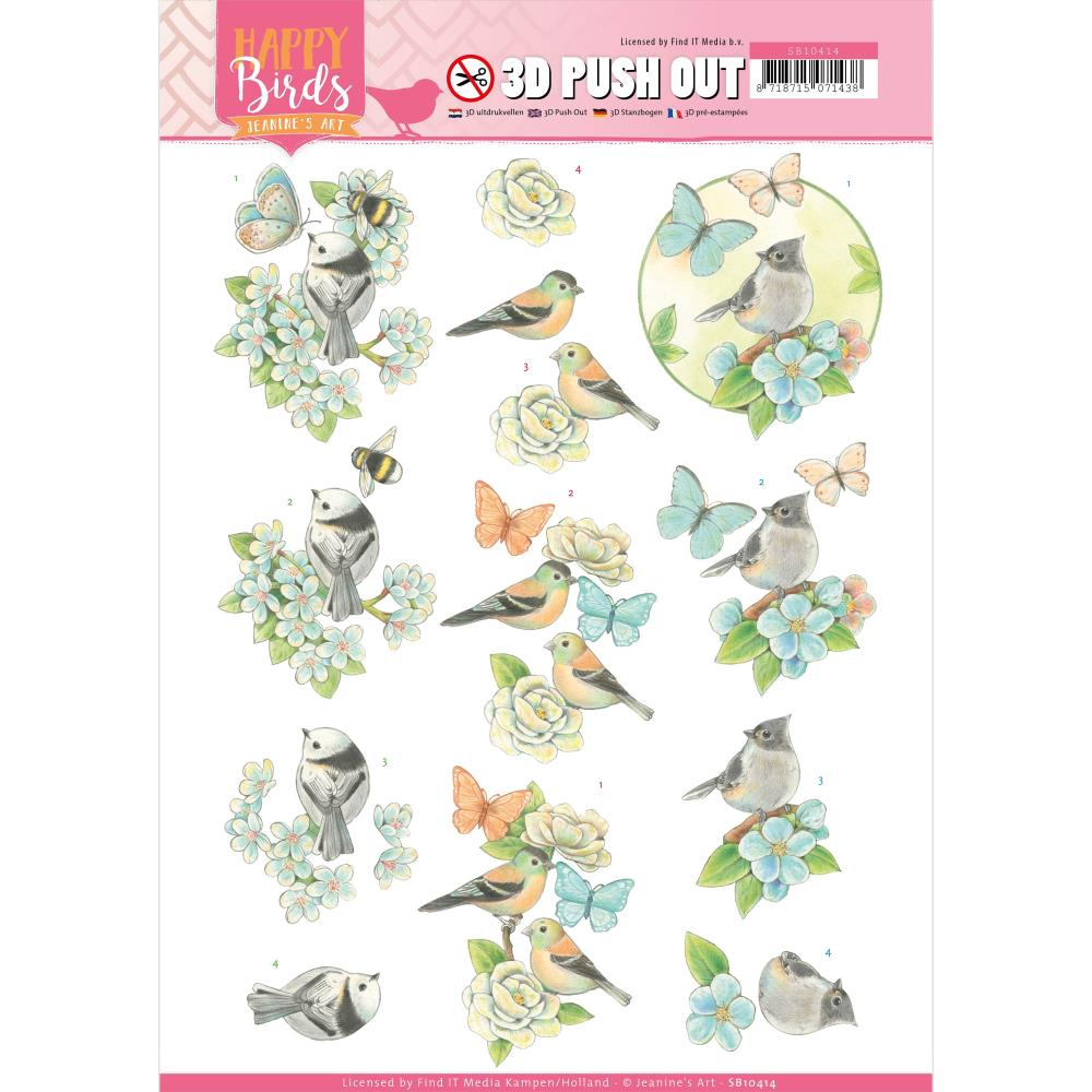 Find It Trading Jeanines Art Punchout Sheet - Blue Dance, Happy Birds